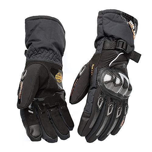 ETYGYH Gants De Moto, Écran Tactile Hiver Chaud Gants Imperméables Anti-Chute Chevalier Racing Gants,Black,XL