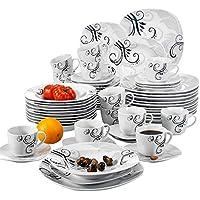 a36124447e7850 Veweet ZOEY 60pcs Service de Table Porcelaine 12pcs Assiette Plate,  Assiette à Dessert, Assiette