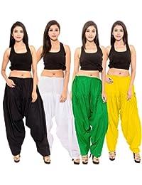 Friendhood Women's Black White Green Yellow Cotton Patiala Salwar