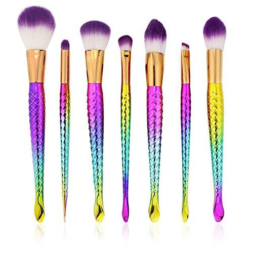 RY@ Maquillage Blush Set, 7 PCS sirène colorée Maquillage Foundation Eyebrow Eyeliner Blush cosmétiques Correcteur Brosses