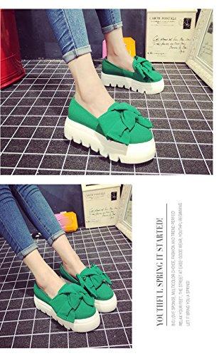 Minetom Femme Casual Bowknot Couleur Unie Slip On Platform Chaussons Wedge Loafer Mocassins Creepers Escarpins Pumps Vert