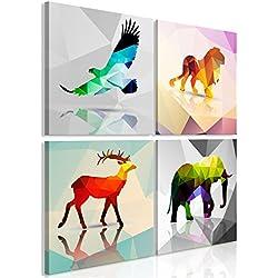murando Cuadro Animales 90x90 cm - Impresion en Calidad fotografica - 4 Partes - Cuadro en Lienzo Tejido-no Tejido - geométrico Abstracto Colorido g-B-0073-b-i