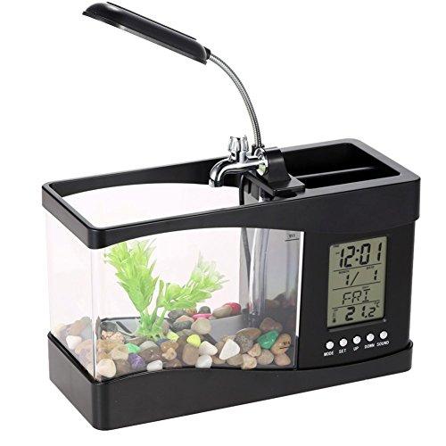 Uhr Fish Tank (Zhuhaixmy USB Desktop Aquarium / LED Tischlampe Uhr und Kalender, Temperatur, sondern auch mit Wecker)