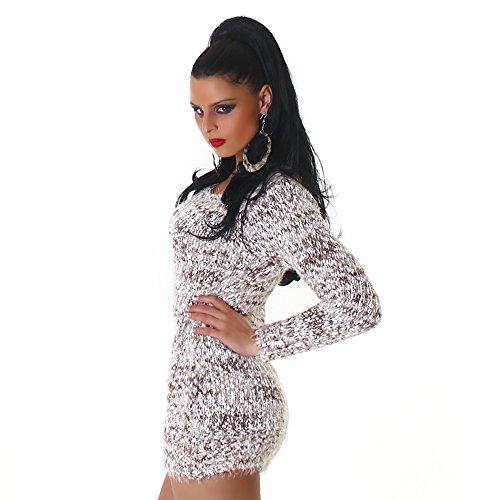 Confortable tricot pull tricot robe mini robe col rond de Jela femmes Londres Marron