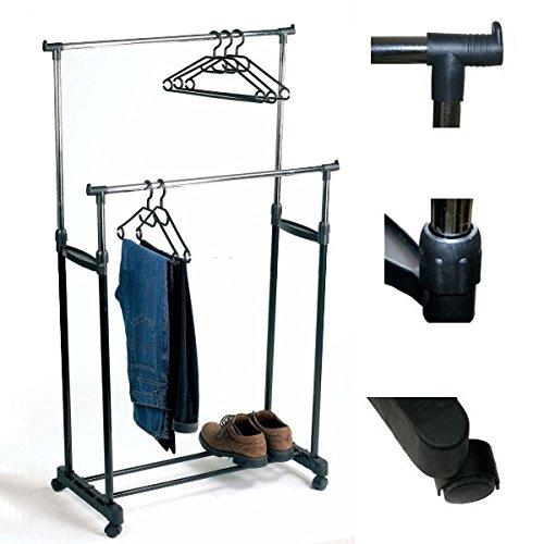 Garderobenständer Kleiderständer Ständer 2 Stangen  Rollen Verstellbar Neu #398