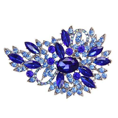 Broche-Elegante-De-La-Flor-Del-Diamante-De-Cristal-Joyas-De-Moda-para-Fiestas-Color-Azul