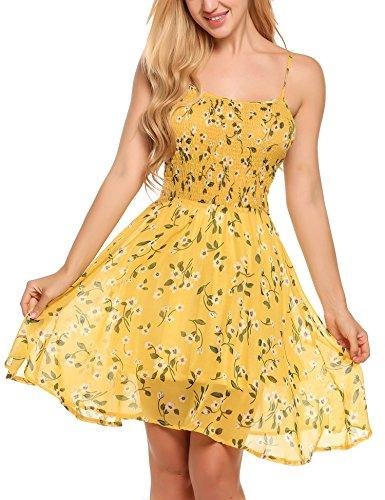 Zeagoo Damen Chiffon Kleid Strandkleid Blumen Druckkleid Bandeaukleid Floral Sommerkleid Spaghetti Trägerkleid, Gelb, 38 (Herstellergröße : M)