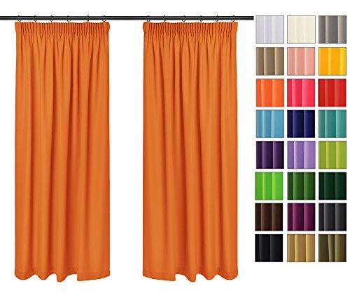 Rollmayer 2er Pack Vorhänge mit Bleistift Kollektion Vivid (Orange 6, 135x150 cm - BxH) Blickdicht Uni einfarbig Gardinen Schal für Schlafzimmer Kinderzimmer Wohnzimmer 2 Stück