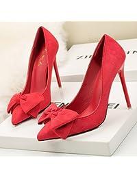 A la luz de los singles femeninos zapatos elegantes finos dulces con ultra-alta con punta satin Bow Tie singles...