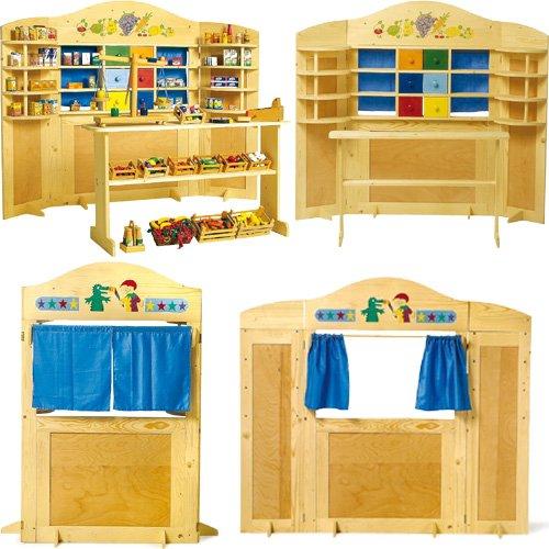 Preisvergleich Produktbild Legler Kinder Holz Kaufladen Kasperletheater Kombi