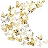 3D Schmetterling Wand Aufkleber Wandtattoo Fliegen Dekor Kunst Dekorationen in 6 Verschiedenen Stilen für Zimmer Haus Kindergarten Klassenzimmer Büros Dekor, Gold 72 Stück