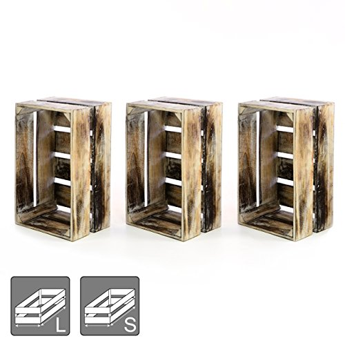 """Divero 3er-Set Vintage Holzkiste braun geflammt Staubox Weinkiste Obstkiste Größe """"M"""" 47 x 29,5cm / Höhe 20cm Stapelbox Spielzeugkiste Regal-Box"""