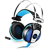 Kekexili KOTION CADA GS5003,5mm Gaming Juego Auriculares Auriculares Auriculares diadema con micrófono estéreo bajo luz LED para PS4PC ordenador portátil Teléfonos móviles Black + Blue