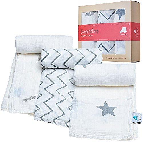 Muselina mantas   100% algodón orgánico   ideal para Baby Shower regalo   pequeño Cozy   apto para niños y niñas   unidades 3  blanco Swaddle Manta infantil   mejor para recién nacidos