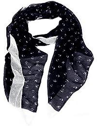 Calonice Amorino Damen Accessoire Schal dunkelblau weißer Schal mit Anker aus Polyester eine Einheitsgröße 87x180x0.1 cm (BxHxT) 23100