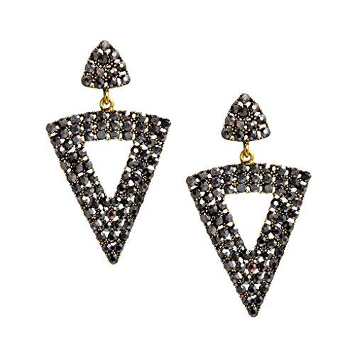chunyang 1 Paar Einfache Frauen durchbohrte Obsidian-Tropfen Ohrring-Mädchen Geometric baumeln Ohrring-Weinlese-Ohrstecker