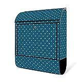 BANJADO Design Briefkasten schwarz | 38x47x13cm groß mit Zeitungsfach | Stahl pulverbeschichtet | Wandbriefkasten mit Motiv Punkte auf Blau ohne Standfuß