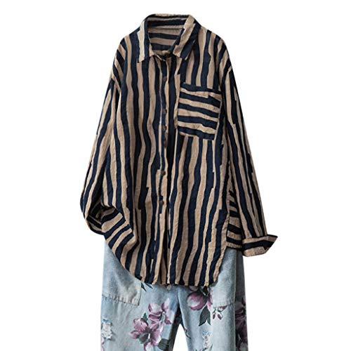 Malloom-Bekleidung Frauen beiläufige lose Baumwolle und Leinen volle Hülsen-gestreifte Knopf-Blusen-Oberseiten Langärmliges Oberteil mit Knopfleiste aus Baumwolle und Leinen -