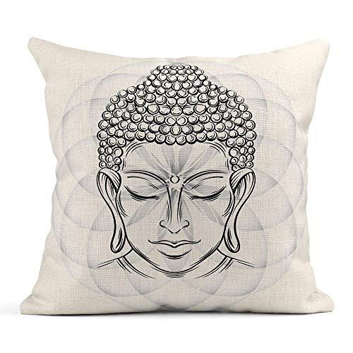 Throw Pillow Cover Imprimir Cuadrado es Oculto Cremallera Cabeza de Buda Elegante El símbolo del budismo Espiritualidad e iluminación Funda de almohada Diseño de un lado Sofá para el hogar 45x45 cm