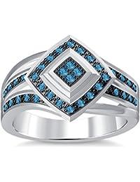 Silvernshine 1.35Ctw Round Cut Aquamarine Simulated Diamonds 14K White Gold Plated Engagement Ring