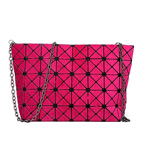 Matte Geometrische Falttasche Diagonale Paket Mode Einfache Umhängetasche RoseRed