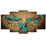 sechars - 5-teiliges Wandbild auf Leinwand, Vintage-Stil, Blaugrün, Rosen-Motiv, abstrakte Pistole, Poster gespannt und gerahmt, für Zuhause, Büro, Wohnzimmer, Westerndekoration
