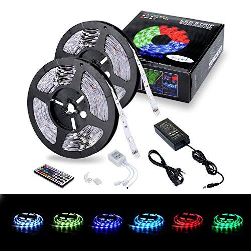 Lemego Ruban LED Etanche 5M*2 5050 RGB Multicolore SMD 2*150 LED Bande Lumineuse avec Télécommande à infrarouge 44 touches Alimentation 5A 12V