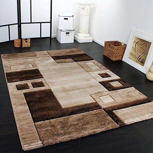 alfombra-preciosa-de-diseno-a-cuadros-corte-contorno-marron-beis-mezclado-grosse160x230-cm