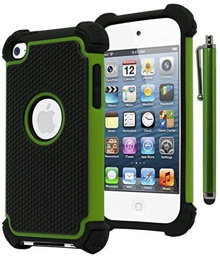 Bastex Hybrid Armor Hülle für Apple iPod Touch 4, 4. Generation-Neon Grün + blackincludes Stylus Ipod Touch 4 Hybrid