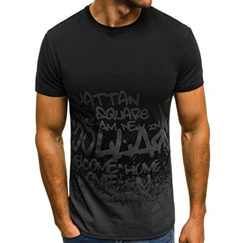 magliette da uomo moda  feixiang® t-shirt uomo maniche corte stampa camuffamento maglia camicia manica corta da uomo tops maglietta del foro di modo degli uomini (nero, l)