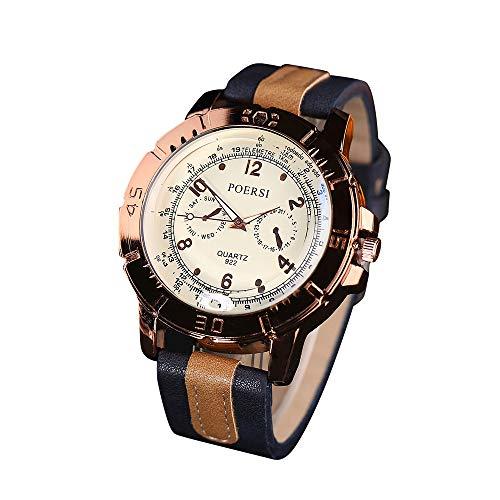 LABIUO Herren Armbanduhr, Modische Quarz Kunstleder Sport Handgelenk Einfache Zeiger Sport Uhr(Marine,Freie Größe)