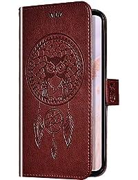 Uposao Cover Compatibile con iPhone XR Silicone Morbido con Pelle Disegni Gufo Campanula Cover Antiurto Portafoglio Protettiva Case Leather,Marrone
