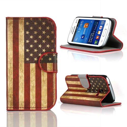 Semoss Rétro USA Américain Drapeau Cuir Style Étui Coque Housse Pour Samsung Galaxy Trend Lite S7392 S7390 Flag Flip Cover