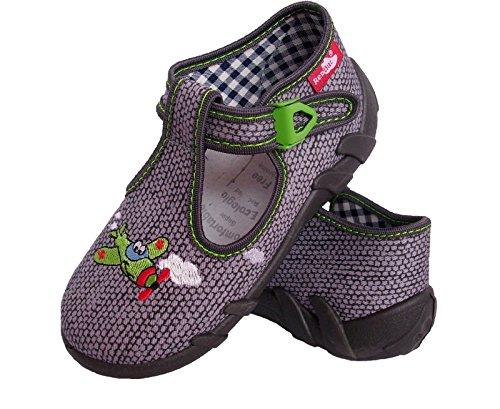 Renbut Jungen Baby Hauschuhe Erste Schuhe Sandalen Flugzeug Schnalle Innensohle Leder Grau Grün Grau