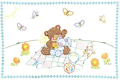 Jack Dempsey Needle Art Needle Art 4060509 Crib Quilt, Top Bear and Bunny, 40 inches x 60 inches ,