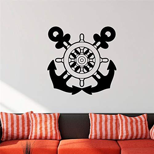 Crjzty Nautische Wandtattoo Anker Aufkleber Schiff Rad Dekor Benutzerdefinierte Farbe Vinyl Wandaufkleber Wohnkultur Wohnzimmer Schlafzimmer Wand 56 * 56 cm -