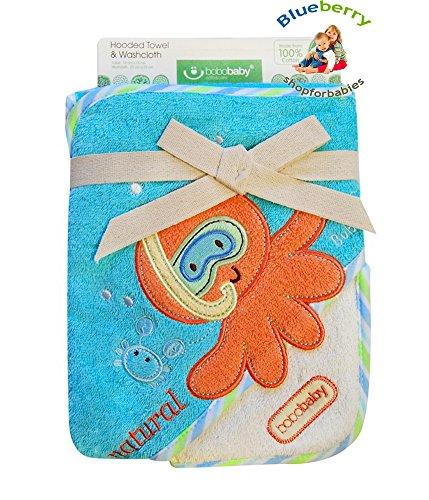 blueberryshop bestickt Baumwolle Kapuzen Bad/Pool/Strand Badetuch für Baby, blau - Den Strand Octopus Für Handtücher