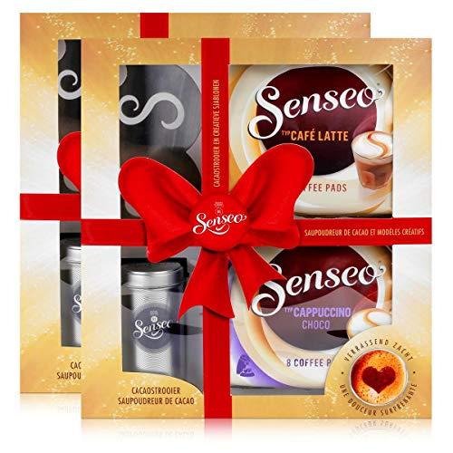 2x Senseo Geschenkset, 4-tlg, Café Latte & Cappuccino Choco + Kakaostreuer & Schablone