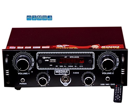 MEDHA D.J. PLUS Car Home Stereo Audio Amplifier Mp3 Music Player USB, Bluetooth ,FM Radio, Aux In  available at amazon for Rs.1499