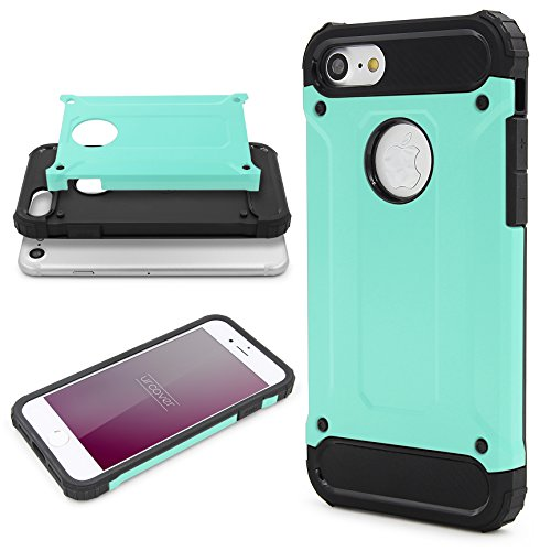 Urcover® Apple iPhone 7 Hülle Steel Series Hybrid | Kunststoff in Rot | Zuberhör Tasche Case Handy-Cover Schutz-Hülle Schale Mint Grün