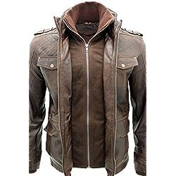 Hombres piel de oveja Marrón Nappa cuero Quilted chaqueta