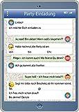 Handy-/Tablet-Einladungen (Set 2): 12-er-Set lustige Handy-/TabletEinladungskarten mit WhatsApp-Nachricht und Smileys/Emojis zum Kindergeburtstag oder zur Party von EDITION COLIBRI © (10730)