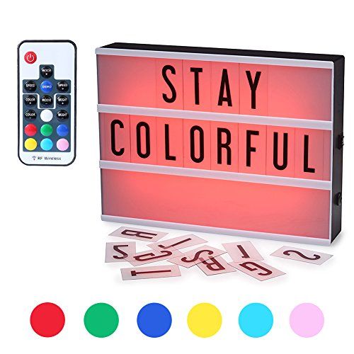Caja de Luz,CrazyFire Cambio de Color Lightbox A4, Cinematic Led Box con 104 Letras(7 Colores)