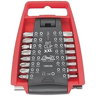 ATHLET-Qualitätswerkzeuge Basic Bit Sortiment Bitclip-XXL, 32-teilig mit Twin Magnet Bithalter 90 mm, PH/PZ/TX-Sortierung, 1480 20