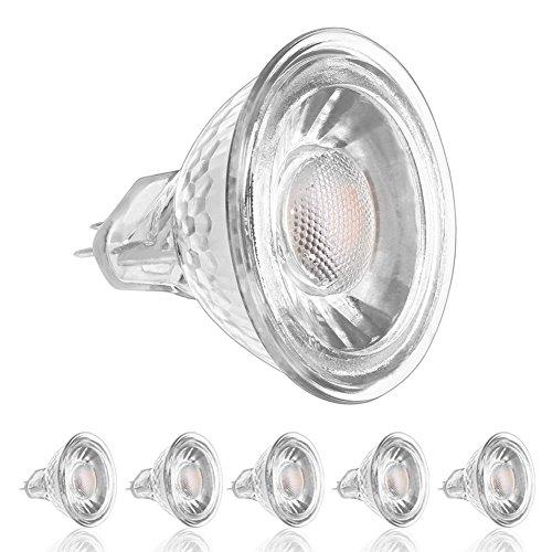 Ledera MR16GU5.3LED Leuchtmittel, 5W (50W Halogen ähnlich), DC/AC 12V, Nicht dimmbar, 500lm, warm weiß 3000K Spots, 50° Abstrahlwinkel (Pack von 6)