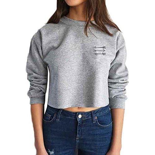 WOCACHI Damen Blusen Mode Frauen Rund halsausschnitt Pfeil Muster Langarm Brief Crop Tops Hemd Bluse (S, (Kostüme Pfeil Grüner Muster)