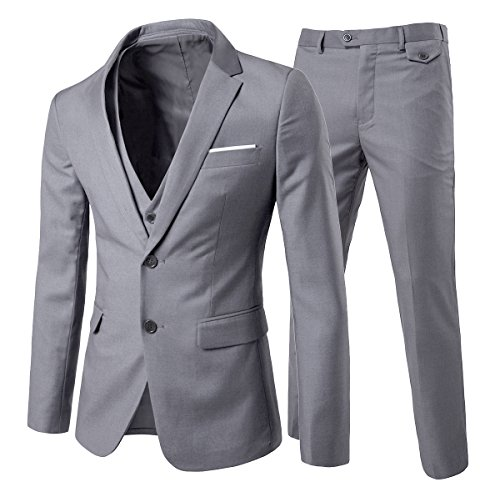Men's Modern Fit 3-Piece Suit Bl...