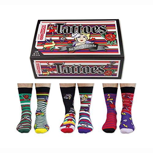 United Oddsocks Herren-Socken, Motiv: Tättowierungen, Größe 39-46, 6 Stück