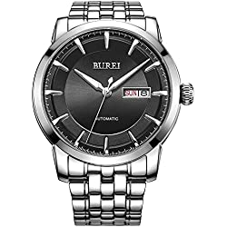 BUREI® Men's Luminous Day and Date Automatic Watch with Silver Link Bracelet,Silver Bezel Black Dial