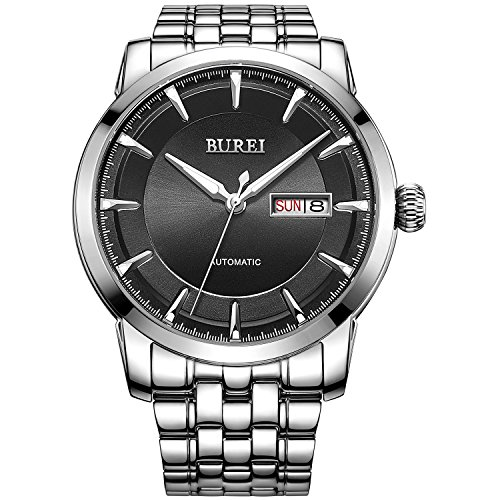 burei-mens-luminous-day-and-date-automatic-watch-with-silver-link-braceletsilver-bezel-black-dial